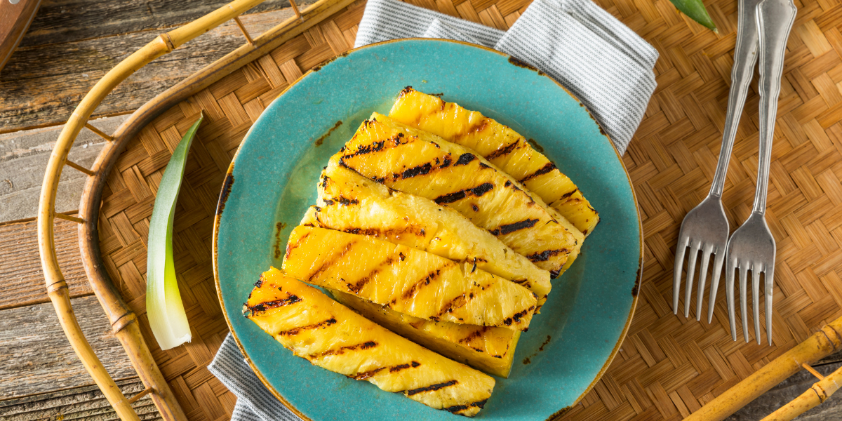 Picture of grilled pineapple on place setting