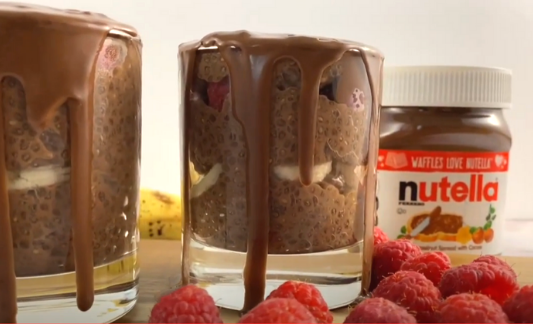 Nutella Chia Pudding with Nutella Shell Topping